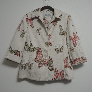 Cream Brocade Blazer 3/4 Sleeve Jacket Butterflies